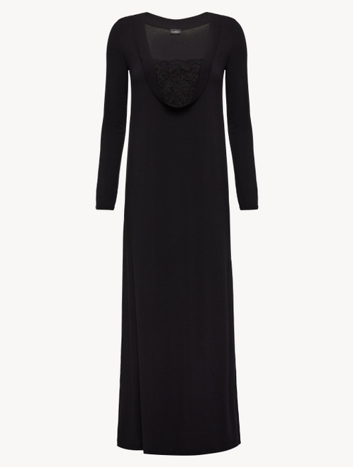 Nightgown in black modal stretch with Leavers lace