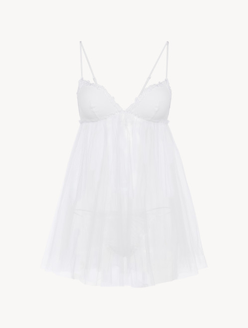 Slip Dress and thong in white tulle