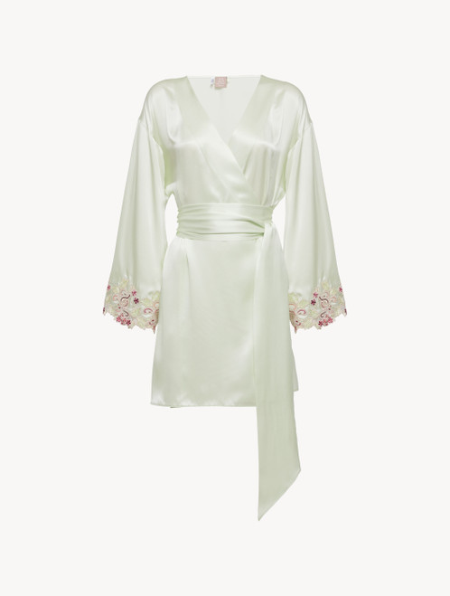 Short robe in pale green silk with embroidered tulle