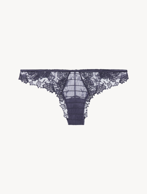 Brazilian Brief in violet embroidered tulle