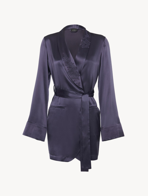 Robe in violet silk satin with embroidered tulle