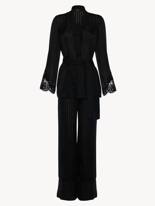Black silk pajama set with Leavers lace