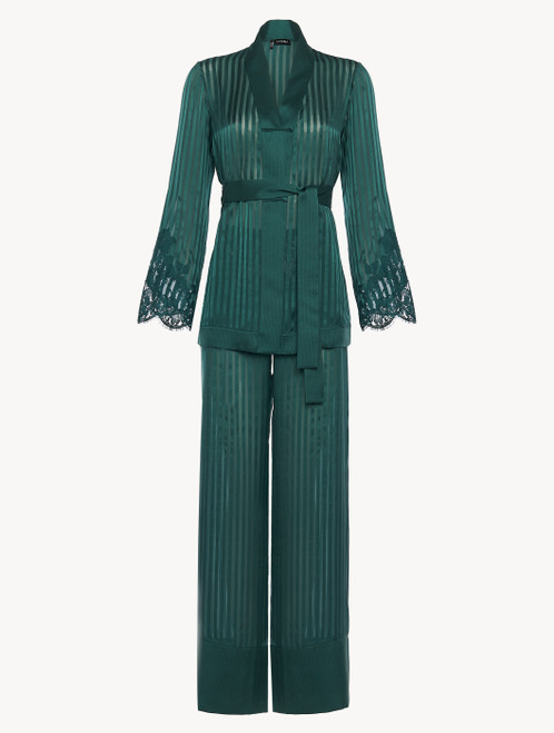 Pajamas in dark green silk with Leavers lace