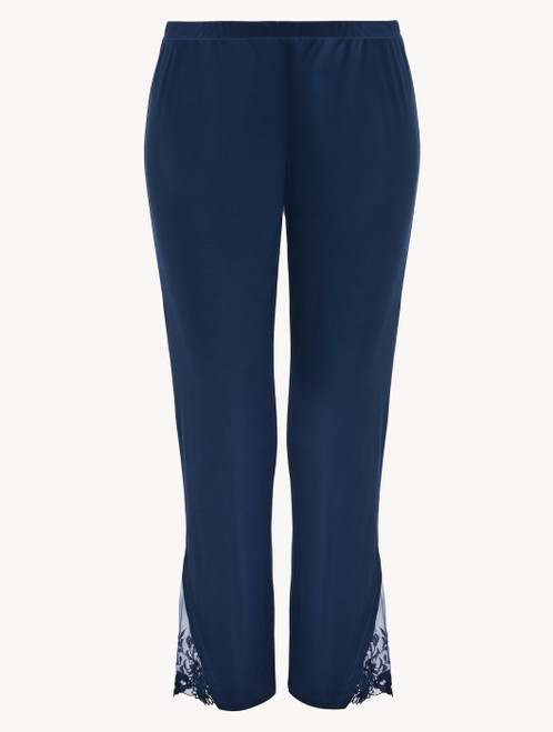 Trousers in blue modal with embroidered tulle