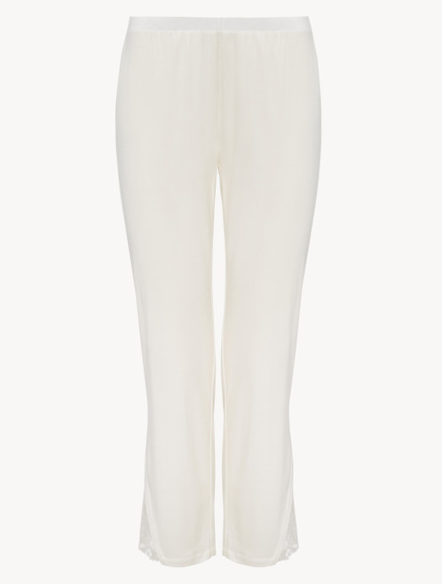 Trousers in off-white modal with embroidered tulle
