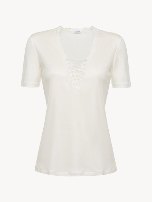 T-shirt in off-white modal with embroidered tulle