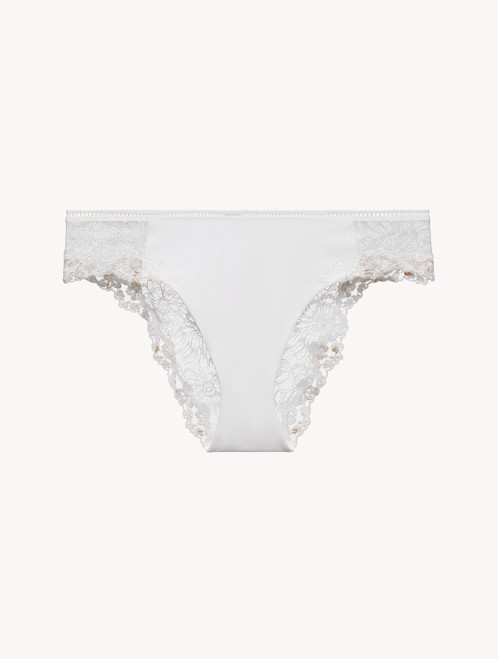 Medium Brief in off-white Lycra with Leavers lace