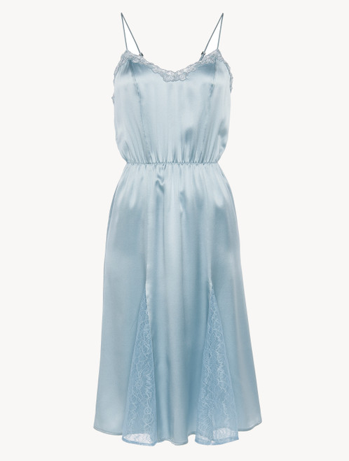 Nightgown in light-blue silk with Leavers lace