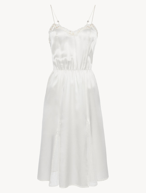 Nightgown in off-white silk with Leavers lace and sheer inserts