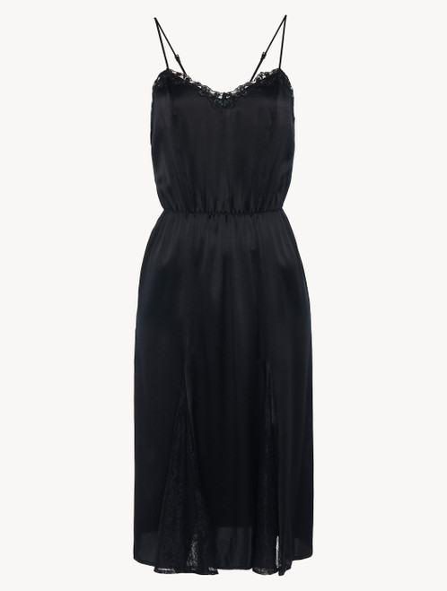 Nightgown in black silk with Leavers lace and sheer inserts