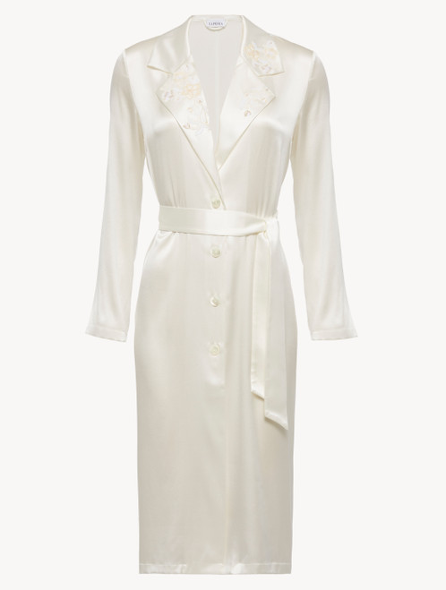 Robe in off-white silk with Leavers lace and sheer inserts