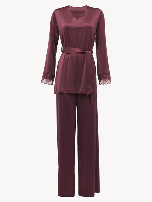 Pyjamas in burgundy stretch viscose and tulle