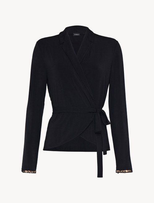 Top in black modal silk jersey