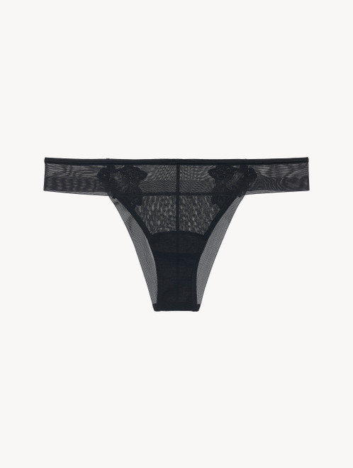 Brazilian Briefs in black stretch tulle