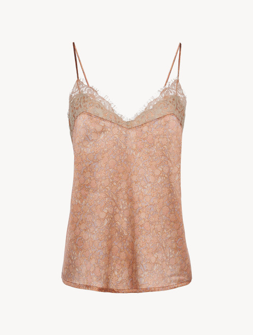 Camisole in pink silk satin with Leavers lace