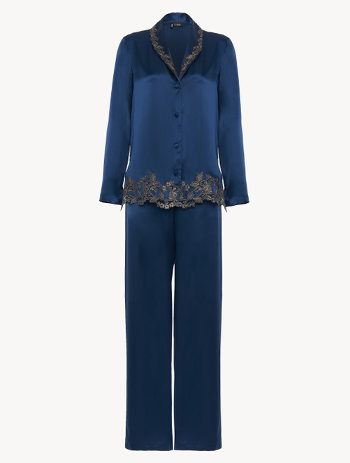 Blue silk pajamas with frastaglio