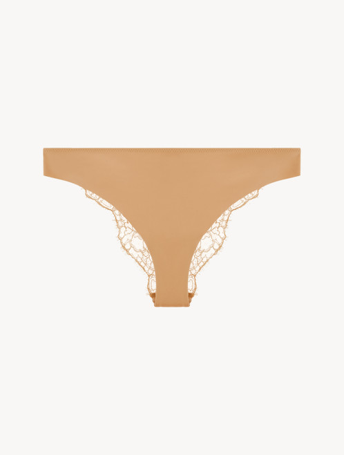 Nude Brazilian brief with Chantilly lace