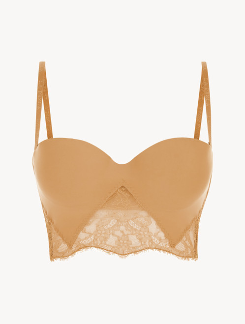 Nude Lycra strapless brassiere with Chantilly lace