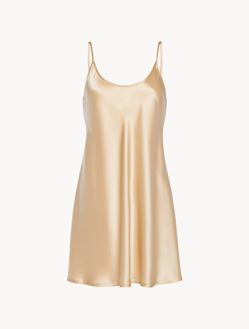 Silk slip dress in beige
