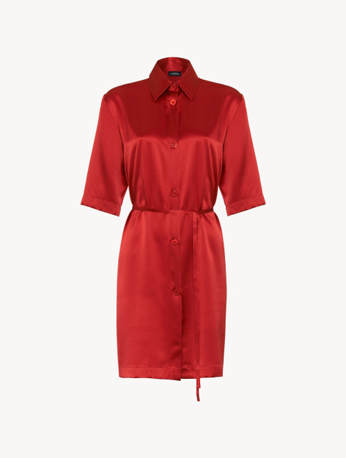 Silk long shirt in garnet