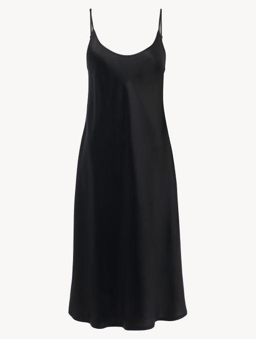 Silk midi nightdress in black