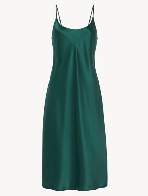 Silk midi nightdress in emerald - ONLINE EXCLUSIVE