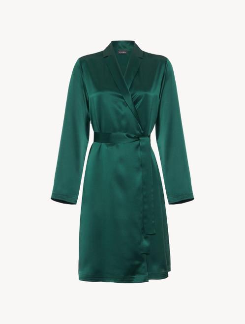 Silk short robe in emerald - ONLINE EXCLUSIVE