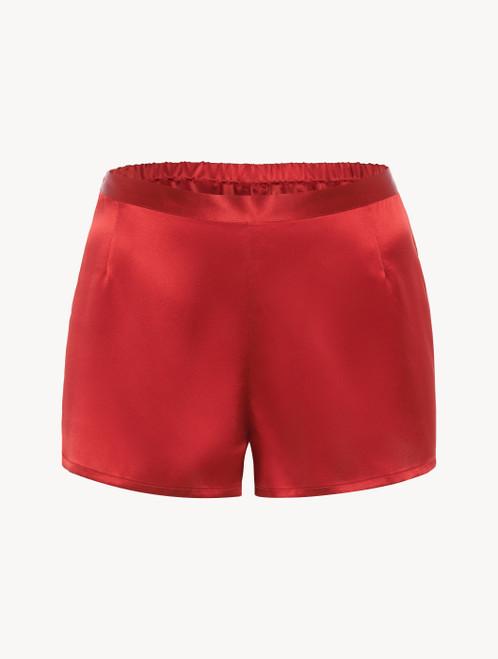 Garnet silk pajama shorts