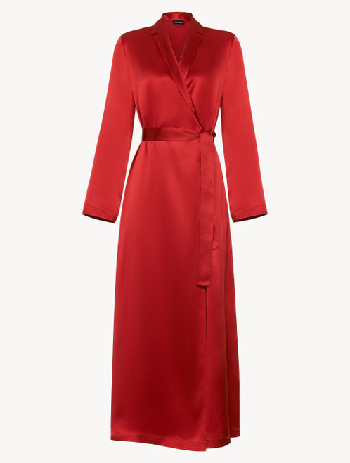 Silk long robe in garnet