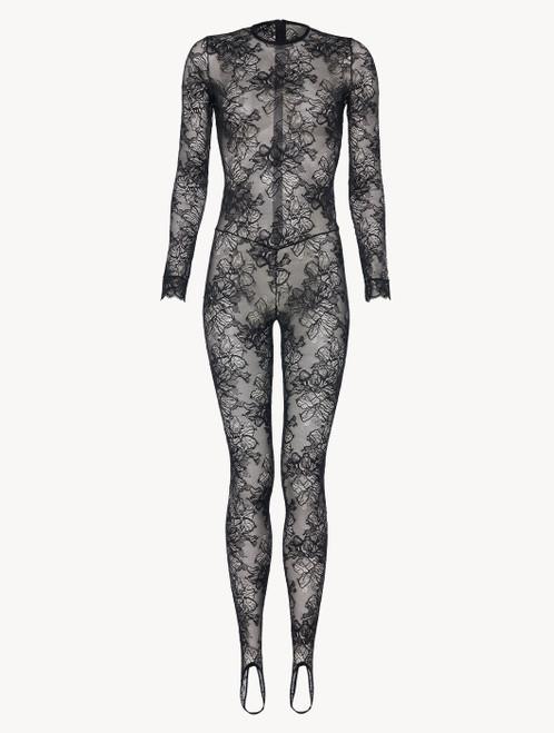 Jumpsuit in black Italian Jacquard lace