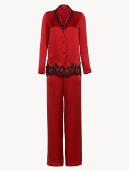 Red silk pajama set with frastaglio