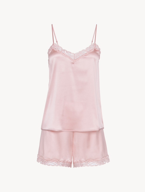 Short pajamas in powder pink silk stretch with lace