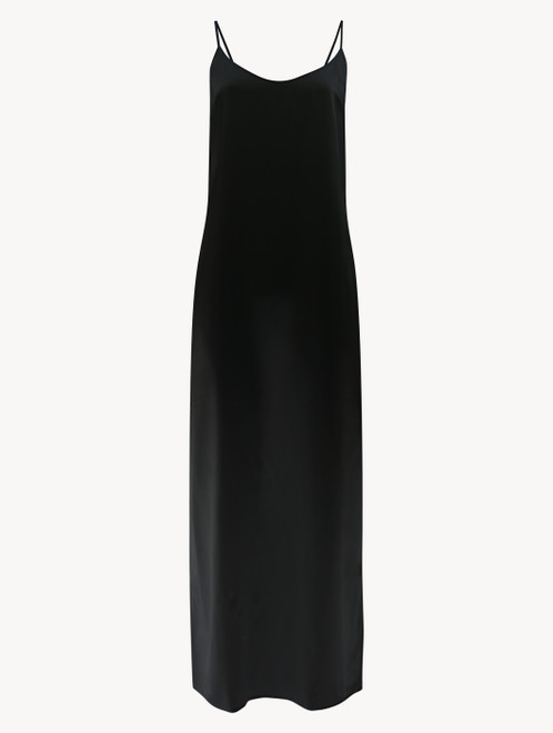 Black silk long slip