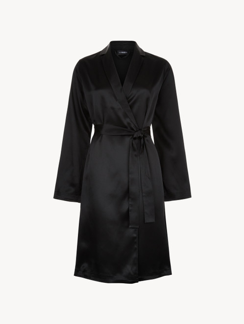 Black silk short robe
