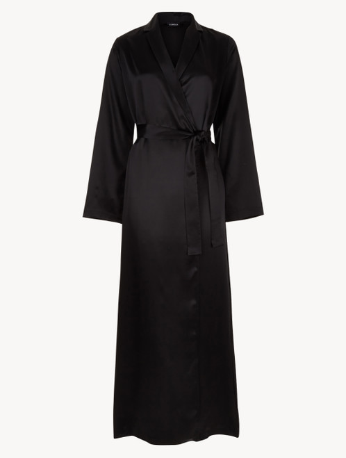 Black silk long robe