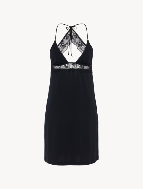 Slip in black rayon with lace