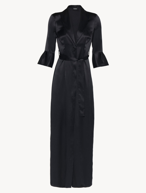 Black long silk belted robe
