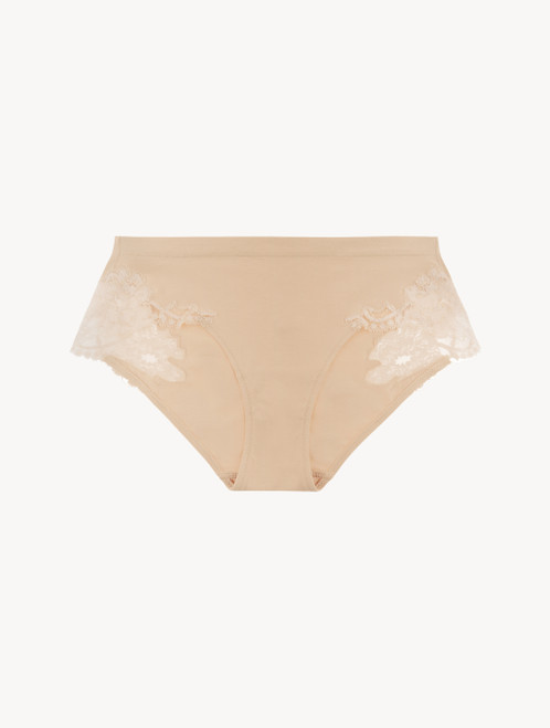 Nude cotton mid-rise briefs