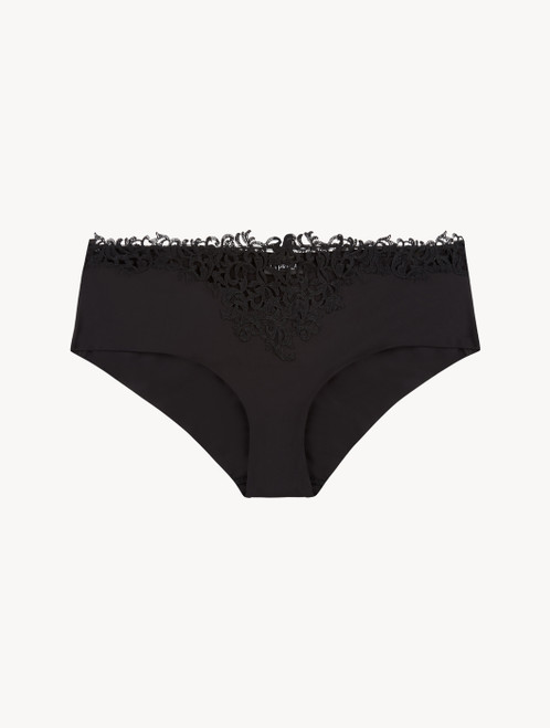 Black hipster briefs with macramé