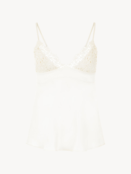 White silk camisole with macramé frastaglio