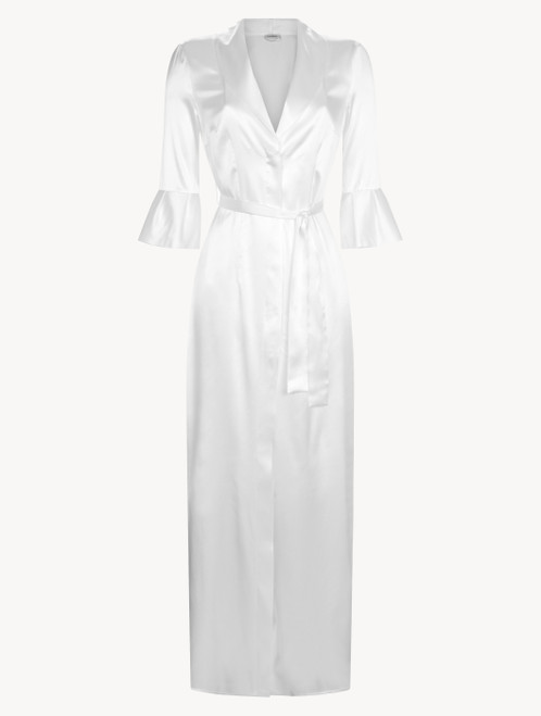 Off-white long silk belted robe