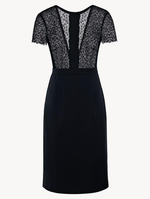 Dress in black silk satin with macramè