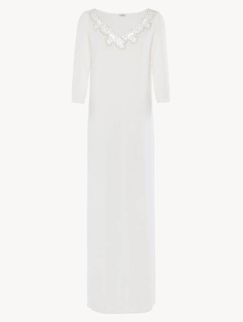Long nightgown in white modal stretch with Leavers lace and silk chiffon