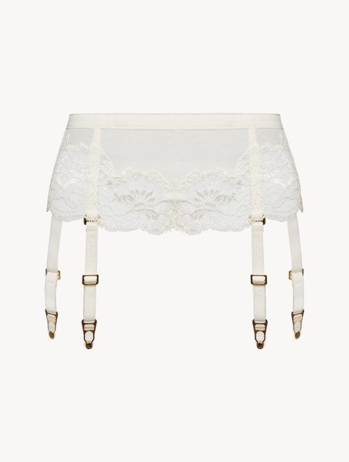 Suspender belt in white tulle and Leavers lace