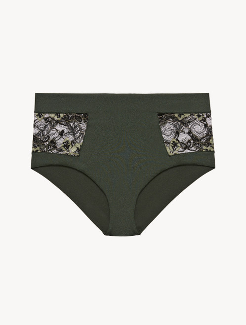 High-waisted brief in green Lycra and black Leavers lace