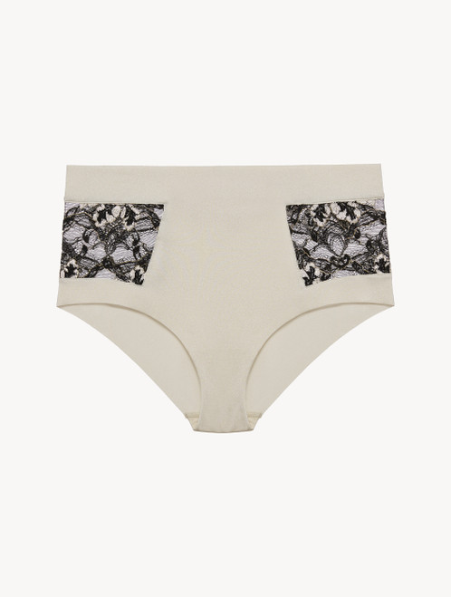 High-waisted brief in grey Lycra and black Leavers lace