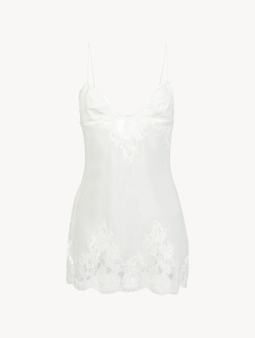 White slip with floral lace