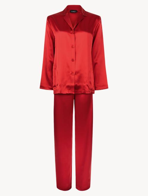 Carmine silk pyjama set