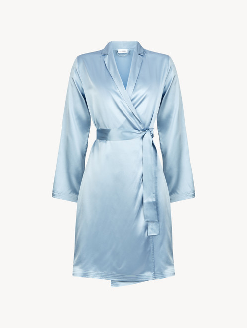 Periwinkle silk short robe