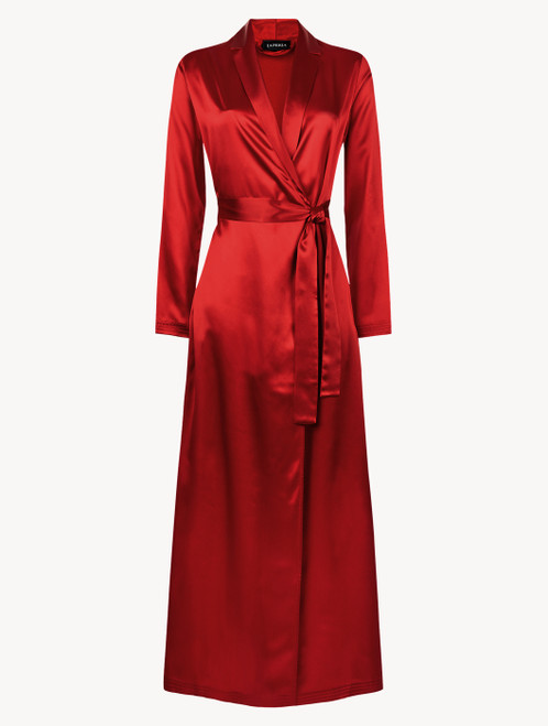 Carmine silk long robe